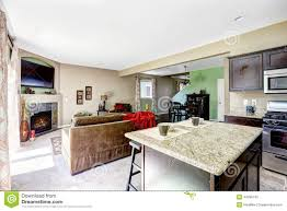 house with open floor plan kitchen and living room stock photo fireplace floor granite house interior island kitchen living open plan room
