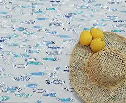 nappe ronde enduite 160 nappe coton enduit poissons ocean 160x160 fleur de soleil