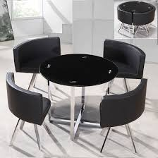 Coco Round Black Glass Dining Table With  Chairs Kitchen Corner - Black dining table for 4