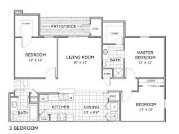 3 Bedroom Apartment Floor Plan 3 Bed 2 Bath Apartment In Springfield Mo Orchard Park Apartments