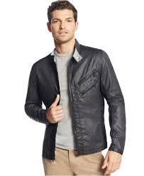 men s moto jacket calvin klein jeans mixed media lightweight moto jacket in black