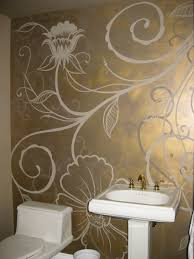 metallic brass glazed wall with flat taupe hand painted floral