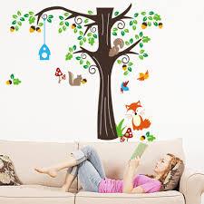 Tree Decal For Nursery Wall by Amazon Com 150 X134cm Nursery Forest Animals Birds Fox Squirrel