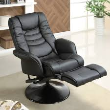 Swivel Recliner Chairs For Living Room Coaster Swivel Recliner In Black Leatherette Walmart Com