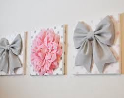 baby gift nursery decor pink and gray canvas flower art