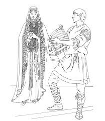 harp coloring page middle ages prince playing harp for princess in middle ages