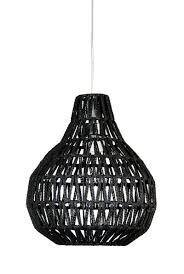 Black Pendant Light by Pendant Light In Black Or White E27 Woven String Shade 30cm Or