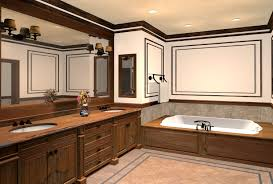 luxury bathrooms design with wood cabinets and wall mirror plus