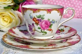 aynsley pink floral english bone china vintage teacup trio