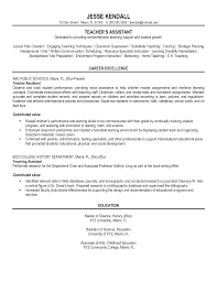 Sample Teacher Assistant Resume by Resume Samples For Teaching Assistant