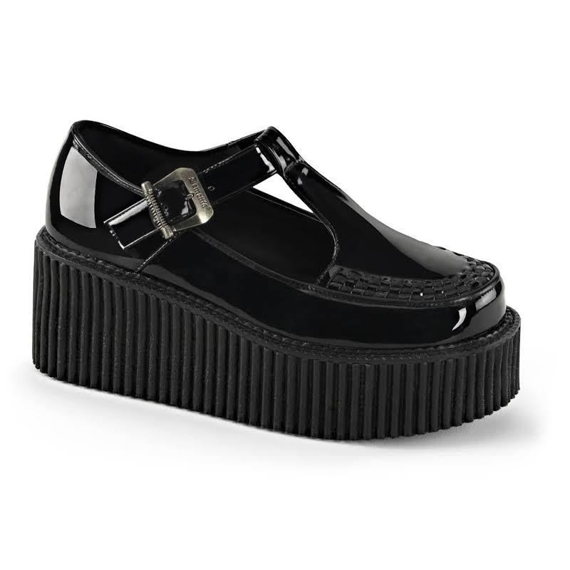 Creeper-214, Platform T-Bar Creeper Shoes Black Patent /