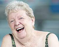 Happy lady swimming