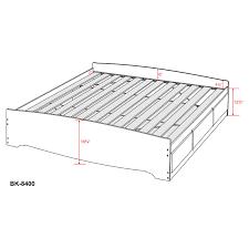 White Bookcase With Drawers by Prepac Basic Storage Platform Bed Hayneedle