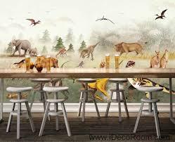 jurassic animals dinosaur froest wallpaper wall art print mural