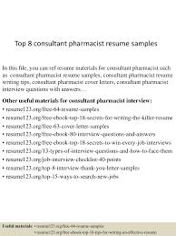 resume objective for pharmacist top8consultantpharmacistresumesamples 150602134843 lva1 app6891 thumbnail 4 jpg cb 1433252972