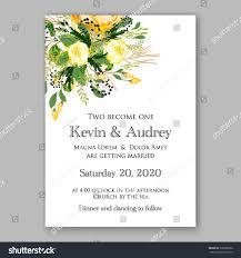 Printable Invitation Card Stock Wedding Invitation Card Template Yellow Rose Stock Vector
