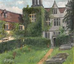 view of the back of a tudor house overlooking a graveyard art uk