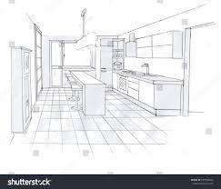 interior sketch design kitchen sketching idea stock illustration
