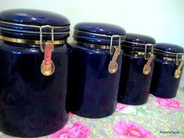 4 vintage cobalt blue ceramic kitchen canisters by rococodecor