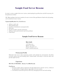 Resume Job Profile by Restaurant Server Resume Haadyaooverbayresort Com