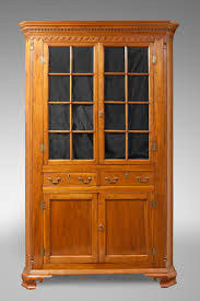 antique oak bookcase with glass doors furniture alluring picture of vintage solid light oak wood corner