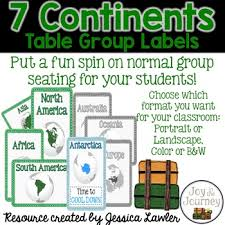 continent table group labels by joy in the journey by jessica lawler