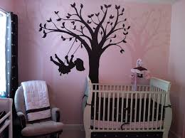 Baby Room Wall Murals by Infant Pink And Brown Bedding Wall Paint Including
