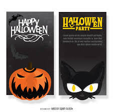 halloween party flyer set vector download