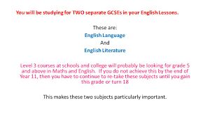 GCSE English Language and English Literature      onwards    ppt     SlidePlayer There is NO coursework for either of the English GCSE     s