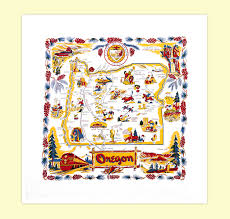 Oregon Map by Oregon Map Towel Red And White Kitchen Company