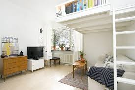 How Much Does An Apartment Cost Small Swedish Studio Apartment Elegantly Combines Loft Bed And
