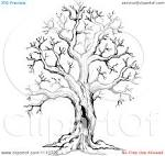 Clipart Black And White Sketched Hollow Bare Tree - Royalty Free ...