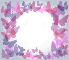 beautiful nature frame with colorful transparent butterflies