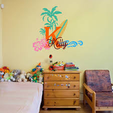 Tree Decal For Nursery Wall by Aliexpress Com Buy Surfboard With Name Wall Decal Baby Palm Tree