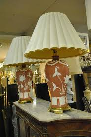 Asian Style Table Lamps Pair Of Asian Style Lilly Pad Decorated Table Lamps In Rose And