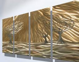 metal decorative wall art with contemporary shiny trees design