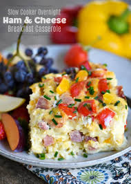 slow cooker overnight ham and cheese breakfast casserole mom on