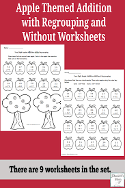 Regrouping Worksheets Apple Themed Addition With Regrouping And Without Worksheets Pinterest Png