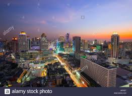 Beautiful Lighting City Scape In Heart Of Bangkok Thailand With Beautiful Lighting Of