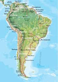 Physical Map Of South America by South America Adventure Travel Maps Oasis Overland