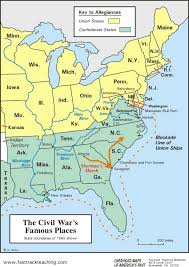 North And South Civil War   map The Civil War     s Famous Places American Civil War North Pinterest