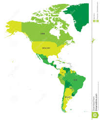Political Map Of Latin America by Political Map Of Americas In Four Shades Of Green On White