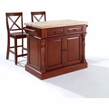 Kitchen Island With Chopping Block Top Crosley Butcher Block Top Kitchen Island With 24 In X Back Stools