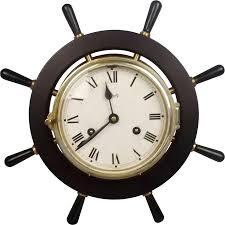 Nautical Home Accessories German Watch Striking Brass Schatz Ships Wheel Clock Found At