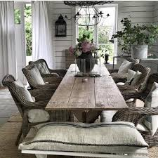 Rustic Wood Living Room Furniture Dining Room With Farmhouse Table And Wicker Chairs Rustic
