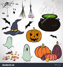 set hand drawn colorful halloween doodles stock vector 153900215