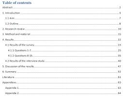 Picture of an example of a table of contents Writingguide se