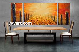 Artwork For Dining Room Triptych Modern Orange Oil Paintings Canvas Wall Decor
