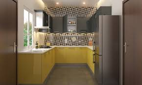 add a geometric touch to your kitchen yellow modular kitchen add a geometric touch to your kitchen
