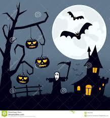 halloween scary landscape night scene background moon over spooky